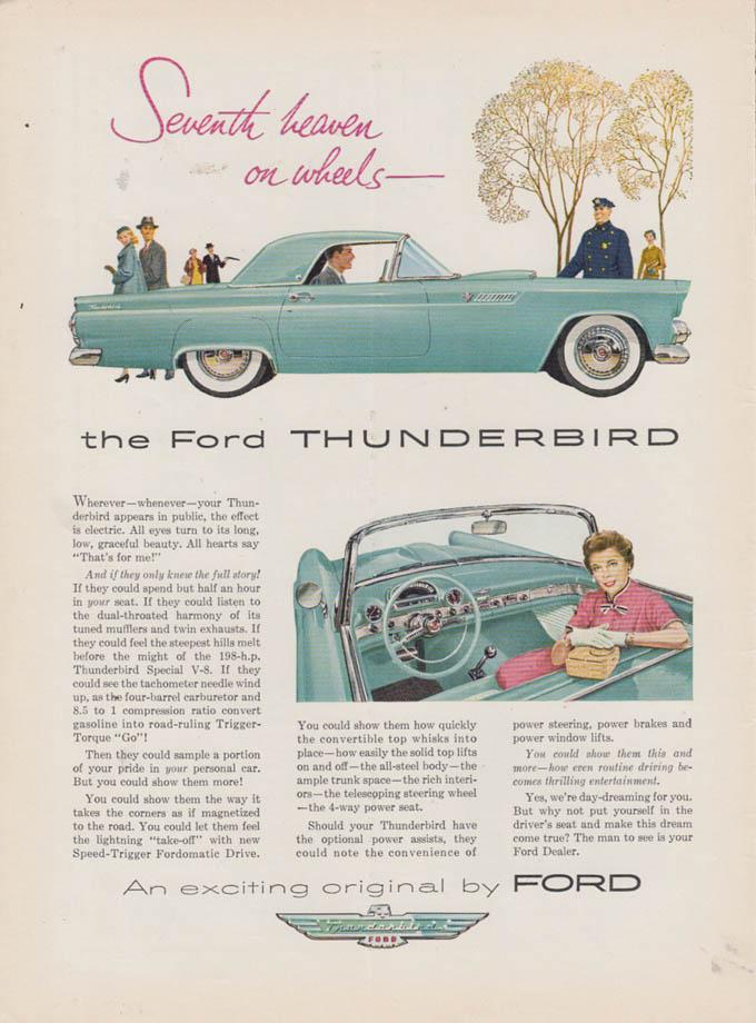 Image for Seventh heaven on wheels - Ford Thunderbird ad 1955 NY