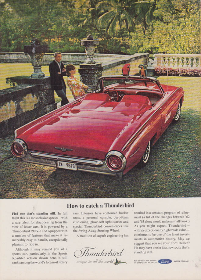 Image for How to catch a Ford Thunderbird Sports Roadster ad 1963 NY