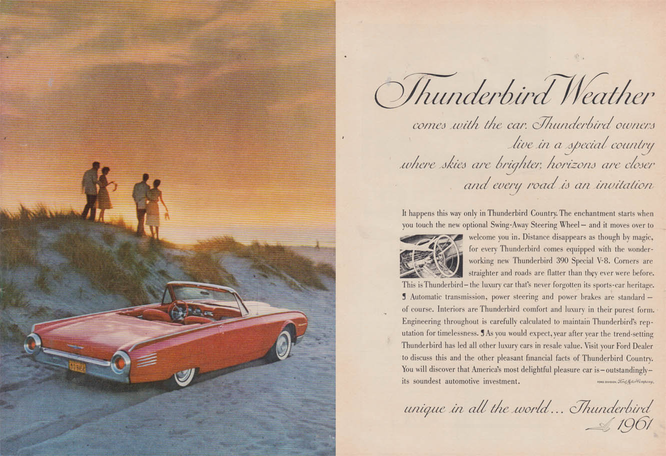 Image for Thunderbird Weather comes with the car Ford Thunderbird Convertible ad 1961 NY