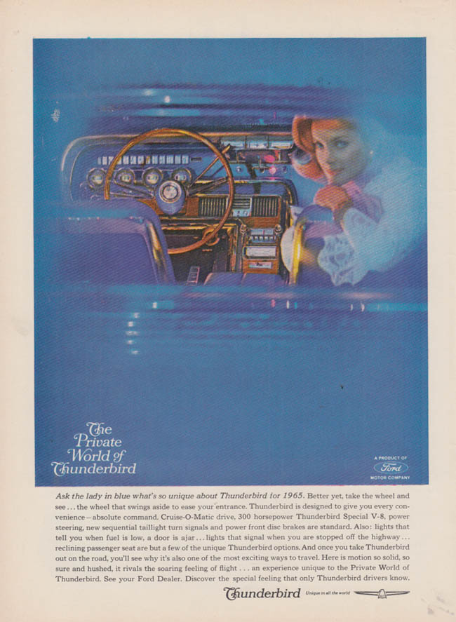 Image for Ask the lady in blue what's so unique Ford Thunderbird ad 1965 USN