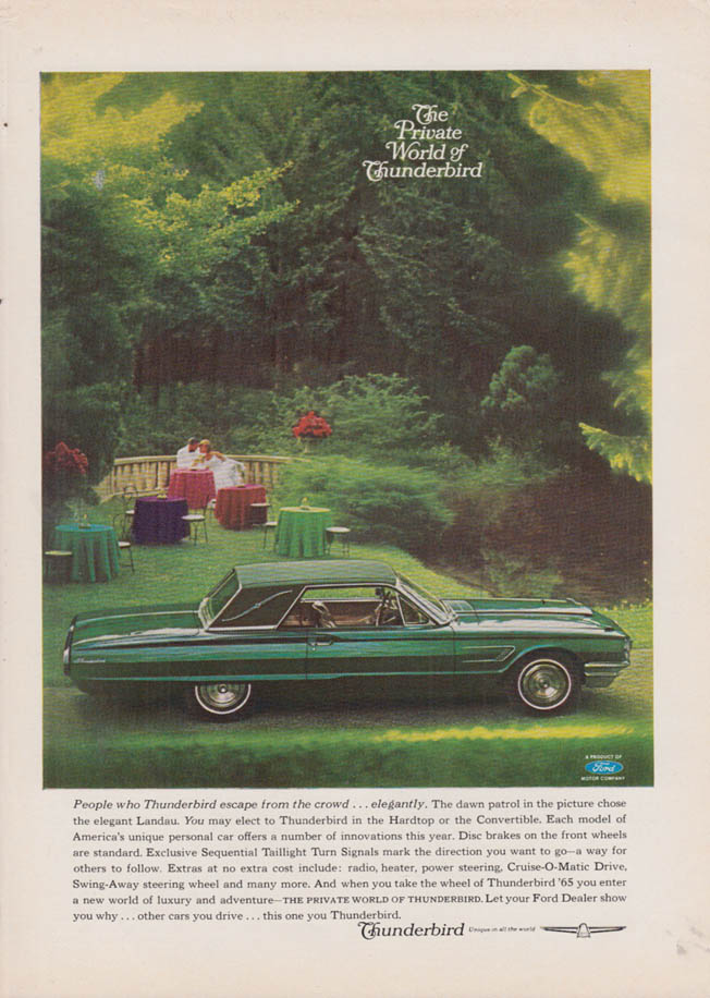 Image for People who Thunderbird escape from the crowd Ford Thunderbird Landau ad 1965 NY