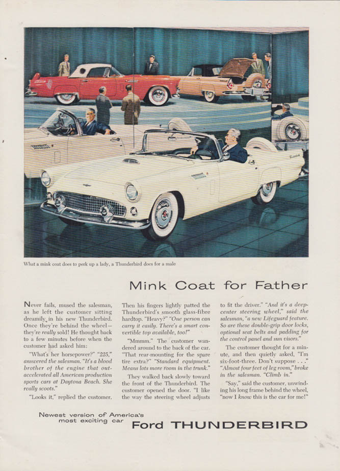 Image for Mink Coat for Father never fails mused the salesman Ford Thunderbird ad 1956 NY