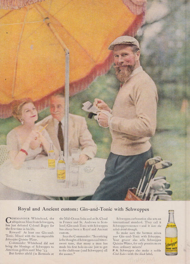 Image for Royal & Ancient Custom - Gin-&-Tonic with Schweppes ad 1955 NY Cdr Whitehead