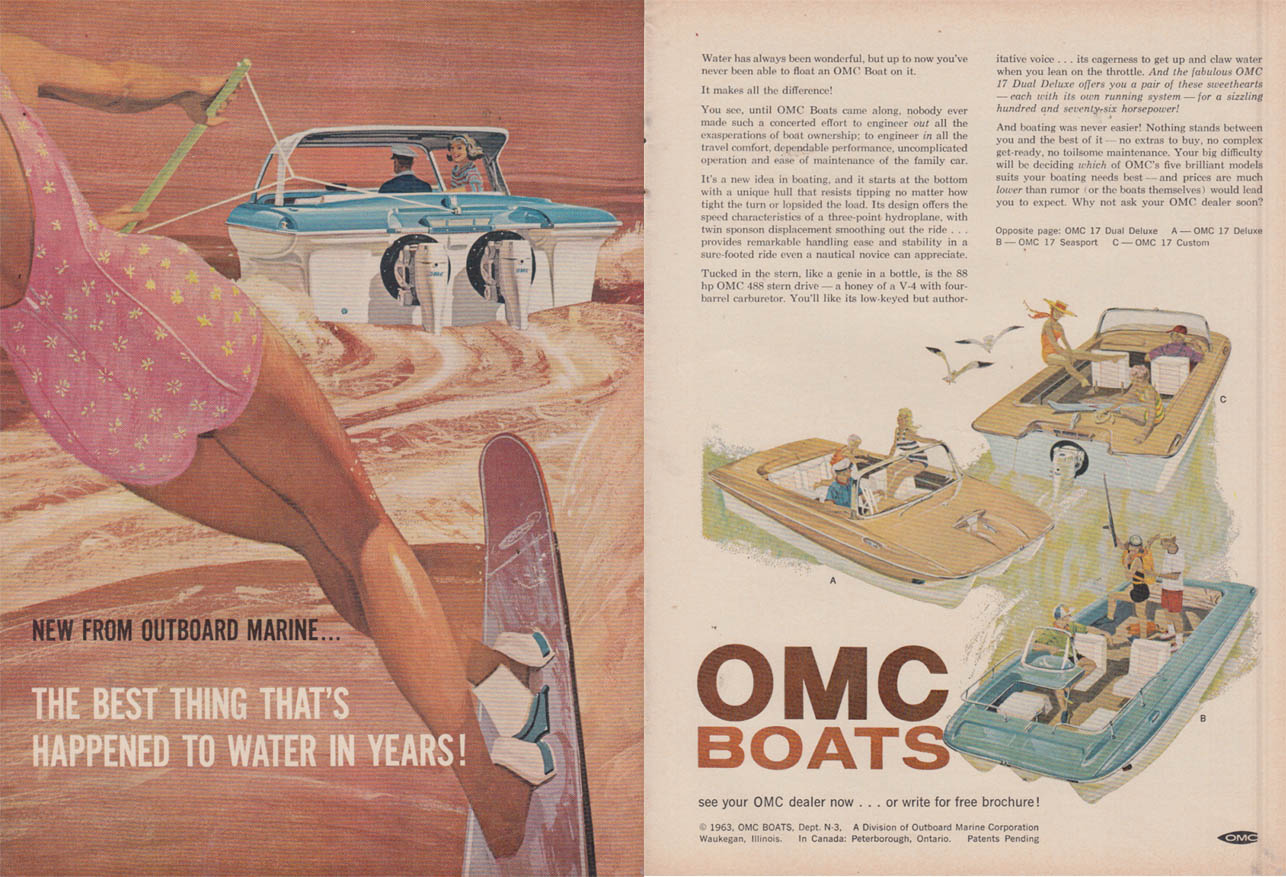 Image for Best thing that's happened to water in years OMC Powerboats ad 1963 NWK
