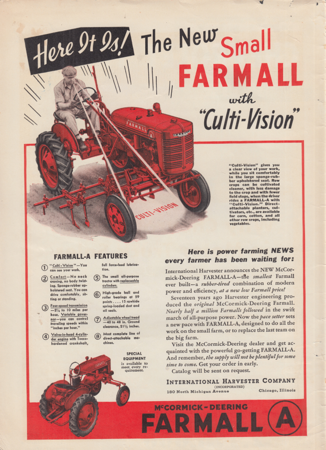 Image for Here It Is! The New Small Farmall Tractor with Culti-Vision ad1939 FJ