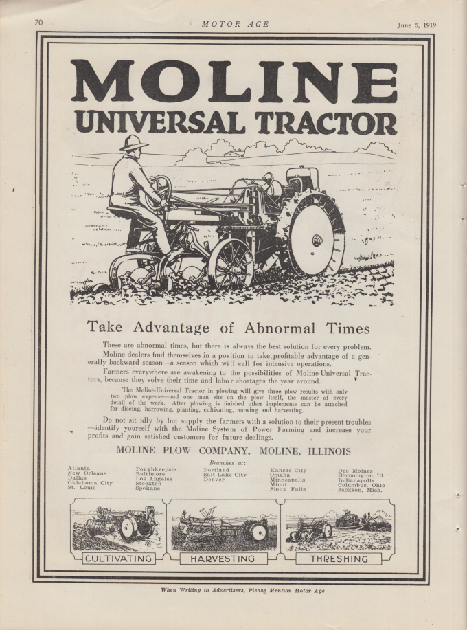 Image for Take Advantage of Abnormal Times - Moline Universal Tractor ad 1919 MotAg