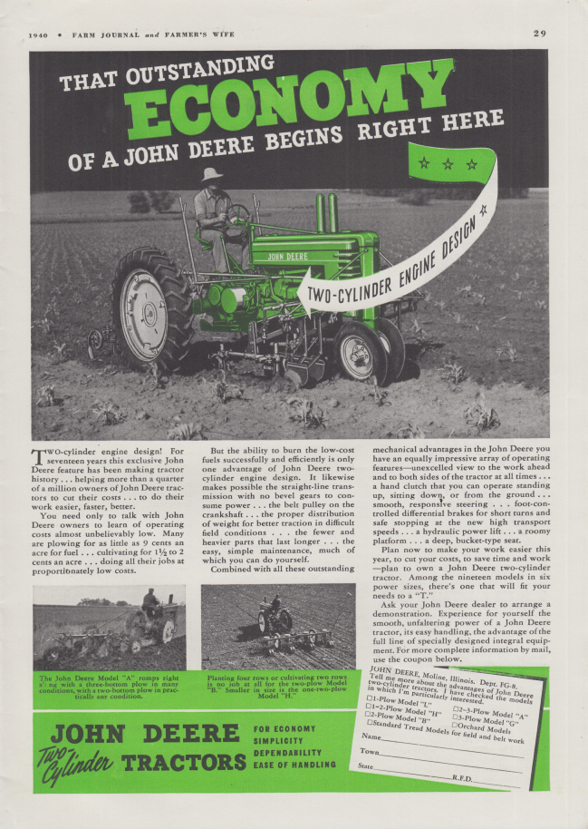 Image for Outstanding Economy begins right here John Deere Tractor ad 1941 FJ
