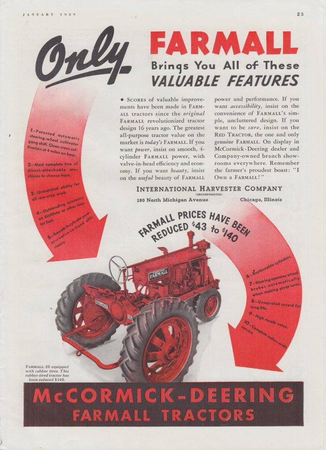 Image for Only McCormick-Deering Farmall 20 Tractor brings you these ad 1939 FJ