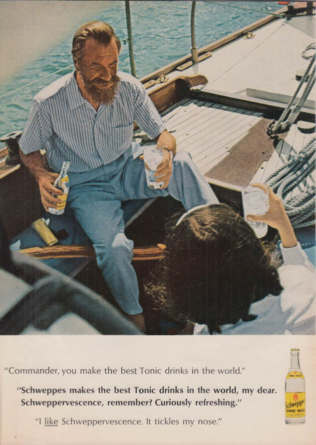 Image for Commander Whitehead makes the best tonic drinks Schweppes ad 1965 T