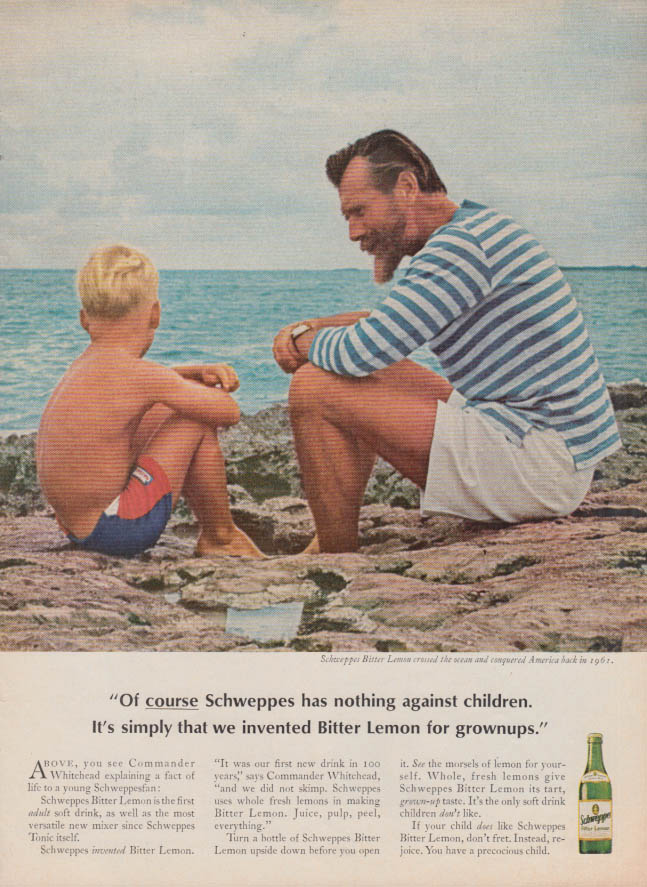 Image for Schweppes has nothing against children ad 1965 Commander Whitehead T