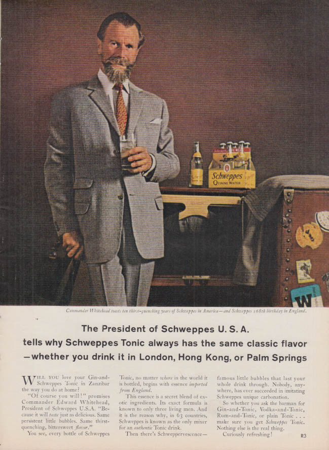 Image for The President of Schweppes U S A Quinine Water ad 1963 T