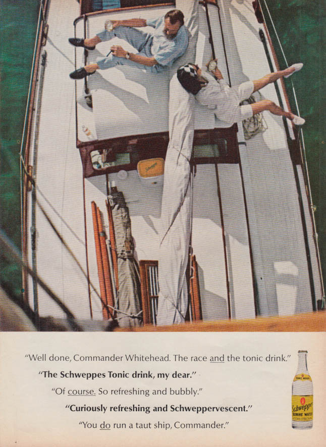 Image for Well done, Commander Whitehead - Schweppes Quinine Water ad 1965 T