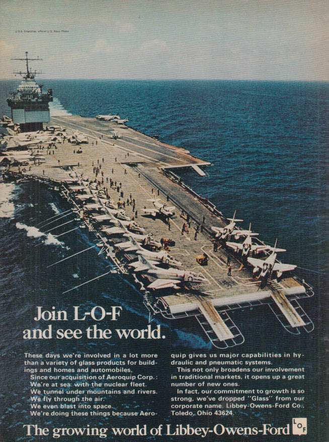 Image for Join L-O-F & see the world USS Enterprise CVN-65 ad Libbey-Owens-Ford 1968 T