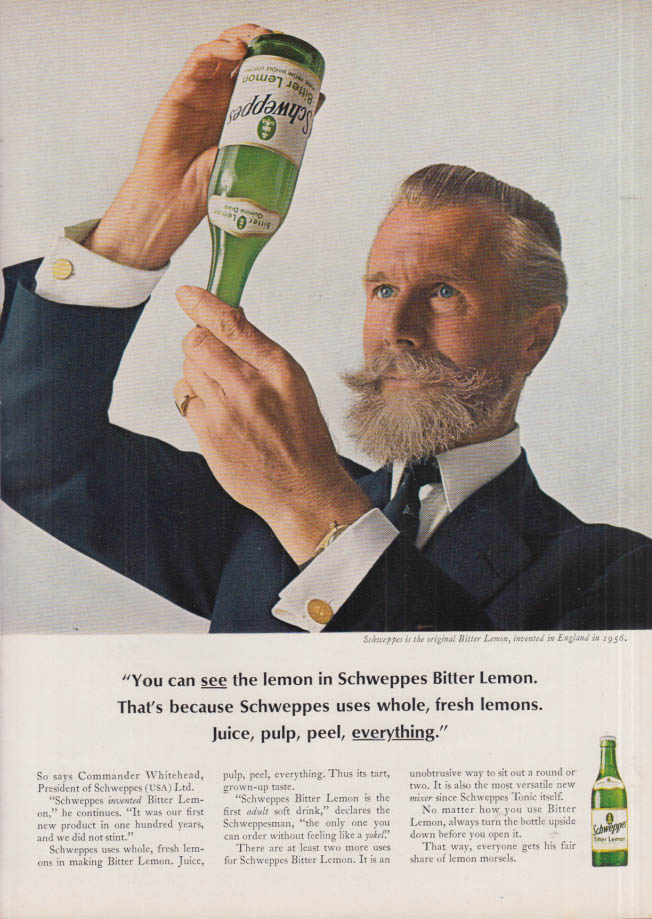 Image for You can see the lemon in Schweppes Bitter Lemon ad 1965 NY