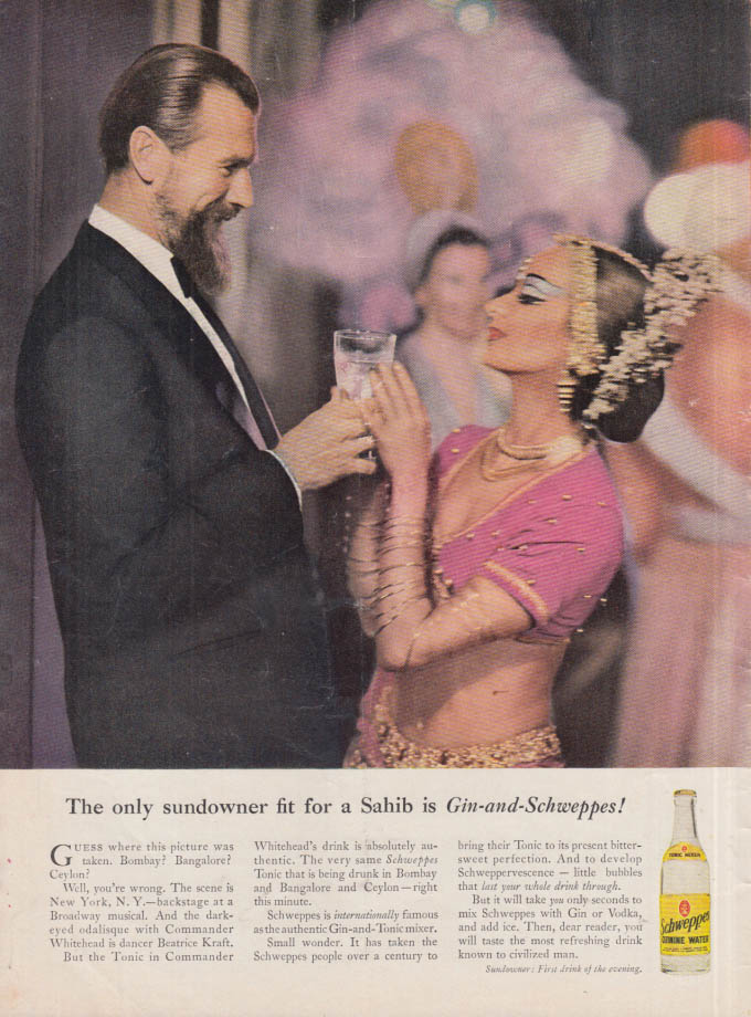 Image for The only sundowner fit for a Sahib is Gin-and-Schweppes Quinine Water ad 1958 NY