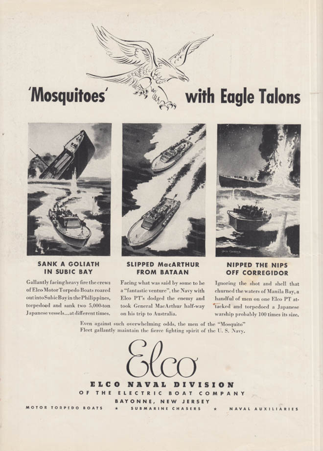 Image for Mosquitoes with Eagle Talons - Electric Boat Elco Naval PT Boats ad 1942