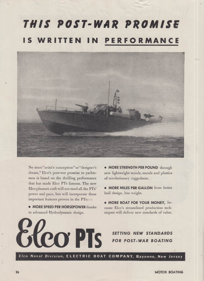 Image for Post-war Promise written in Electric Boat Elco PT Boats ad 1945 MB