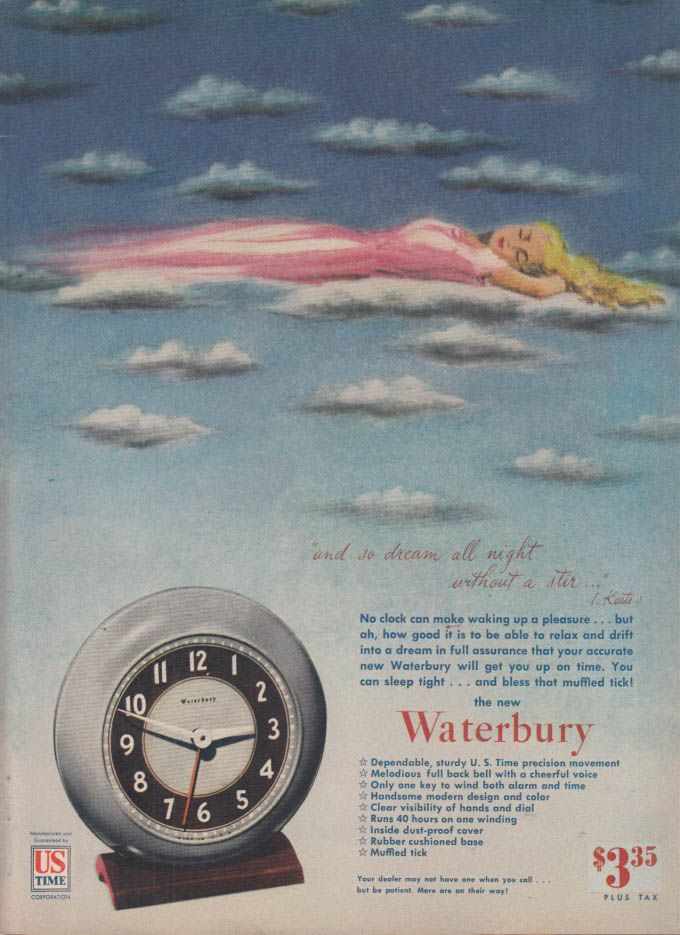 Image for So dream all might without a stir Waterbury Alarm Clock ad 1946 NY