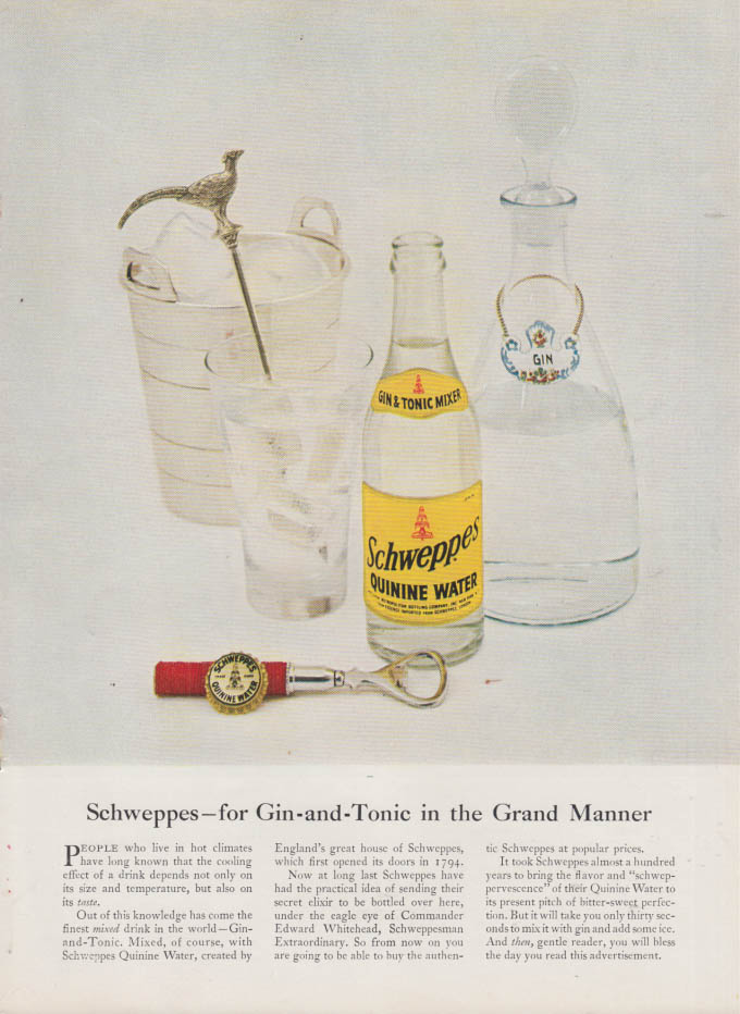 Image for For Gin-and-Tonic in the Grand Manner - Schweppes Quinine Water ad 1953 NY