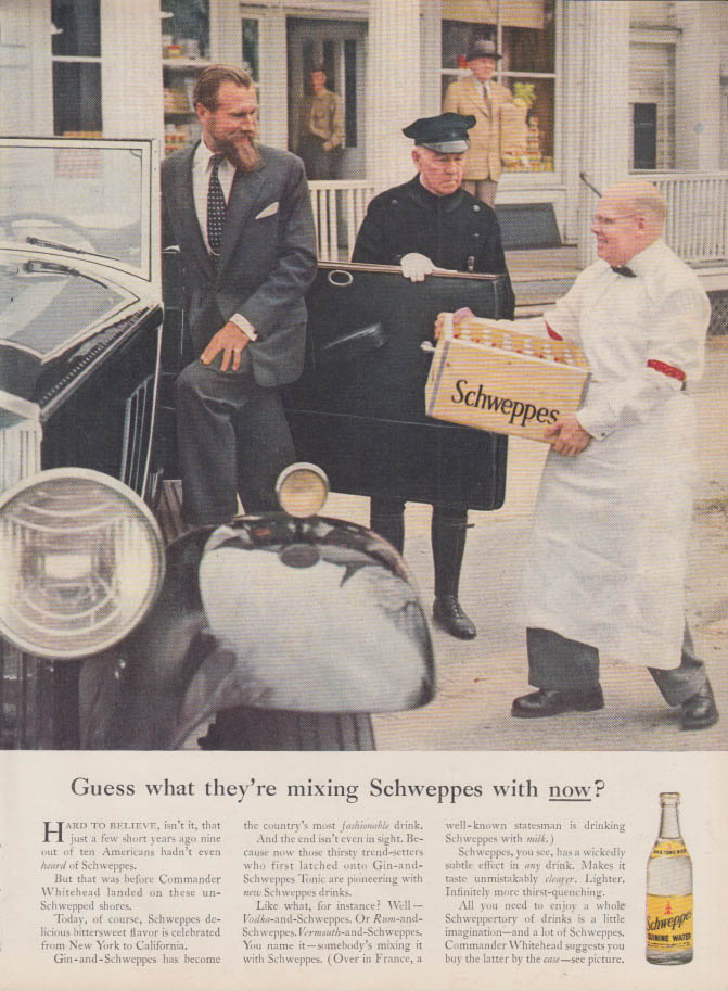 Image for Guess what they're mixing Schweppes tonic water with now? Ad 1957 NY