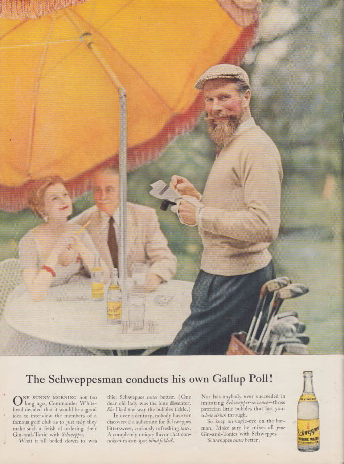 Image for The Schweppsian conducts his own Gallup Poll! Schweppes Quinine Water ad 1957 NY