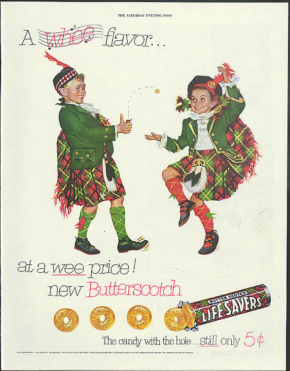 A Whee Flavor Life Savers Butter Scotch Candy ad 1952 kids in kilts dancing