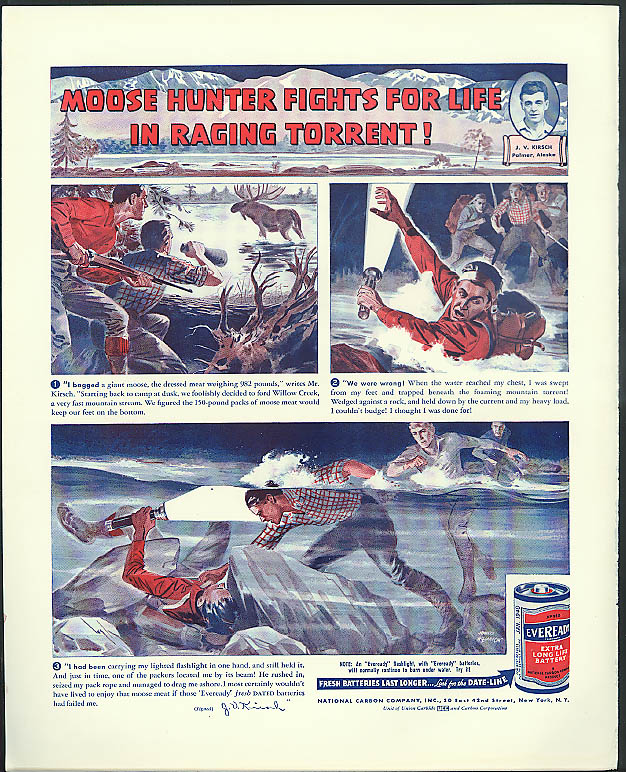 Moose hunter fights for life raging torrent! Eveready Flashlight Battery ad 1939