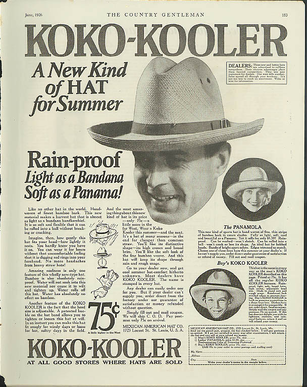 Image for Koko-Kooler - new kind of hat for summer ad 1926 Panamola bamboo