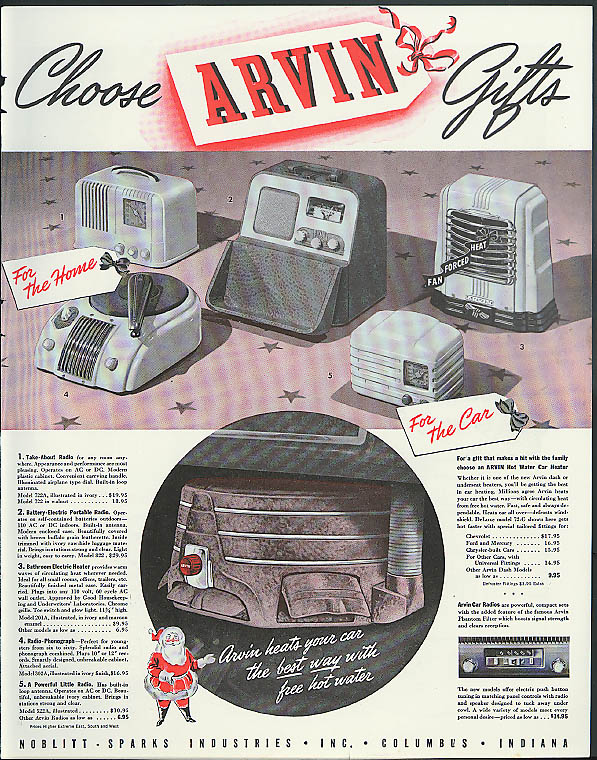 Image for Choose Arvin Gifts ad 1940 radio car heater photograph car radio