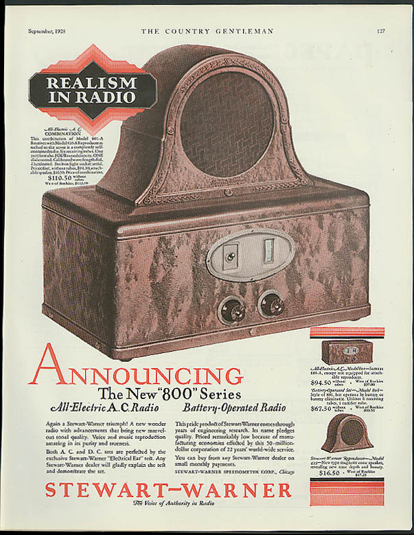 Image for Announcing the new 800 Series Stewart-Warner Radio ad 1928