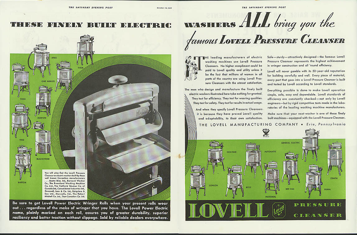 Image for Finely built electric washers Lovell Pressure Cleaner washing machine ad 1933