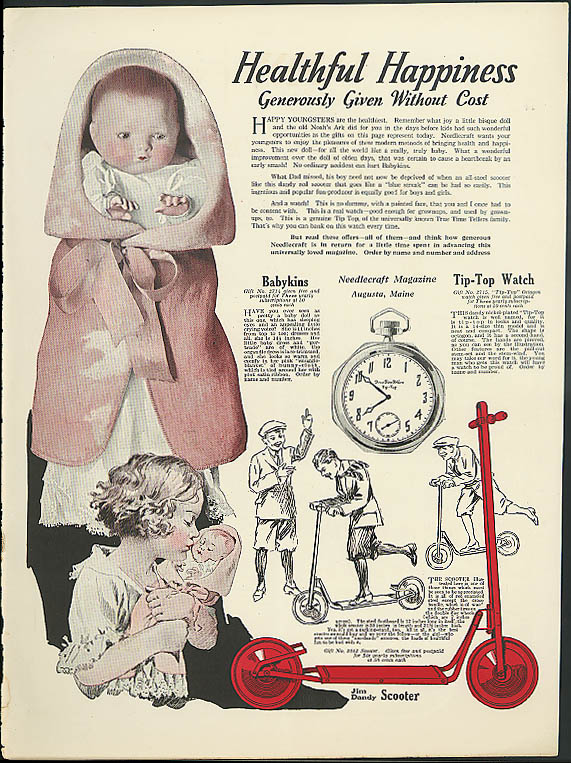 Babykins doll Tip-Top Watch Jim Dandy Scooter Needlecraft Magazine ad 1927