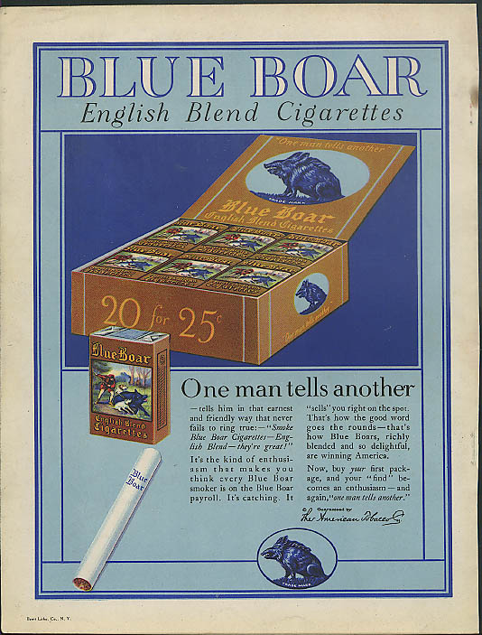 Image for One man tells another Blue Boar English Blend Cigarettes ad 1923