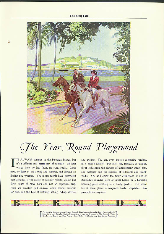 The Year-Round Playground Bermuda Trade Development Board ad 1931
