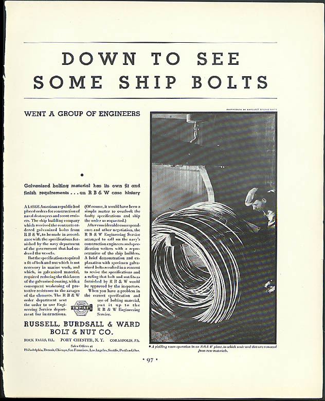 Down to See Some Ship Bolts Russell Burdsall & Ward ad 1932 Bourke-White photo