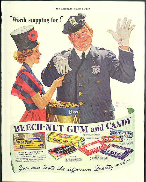 Image for Worth stopping for! Beech-Nut Gum & Candy ad 1937 traffic cop Norman Rockwell