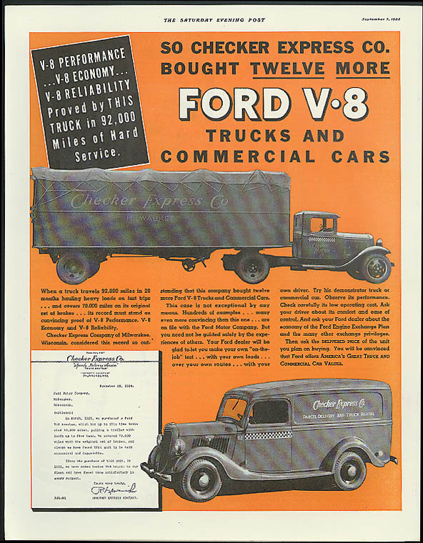 Checker Express bought 12 more Ford V-8 Trucks ad 1935 panel delivery