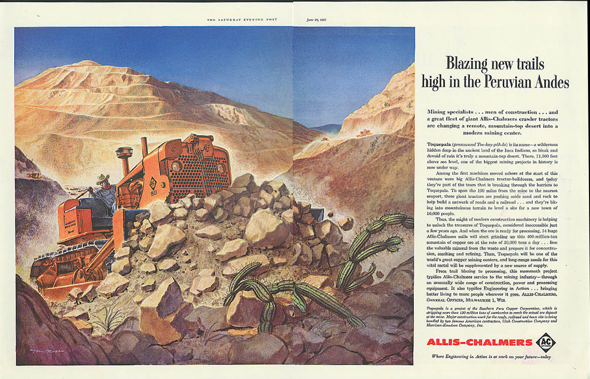 Blazing new trails in Peruvian Andes Allis-Chalmers bulldozer ad 1957