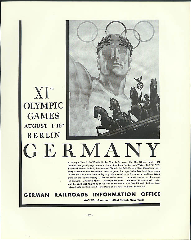 11th Olympic Games Berlin Germany German Railroads ad 1936