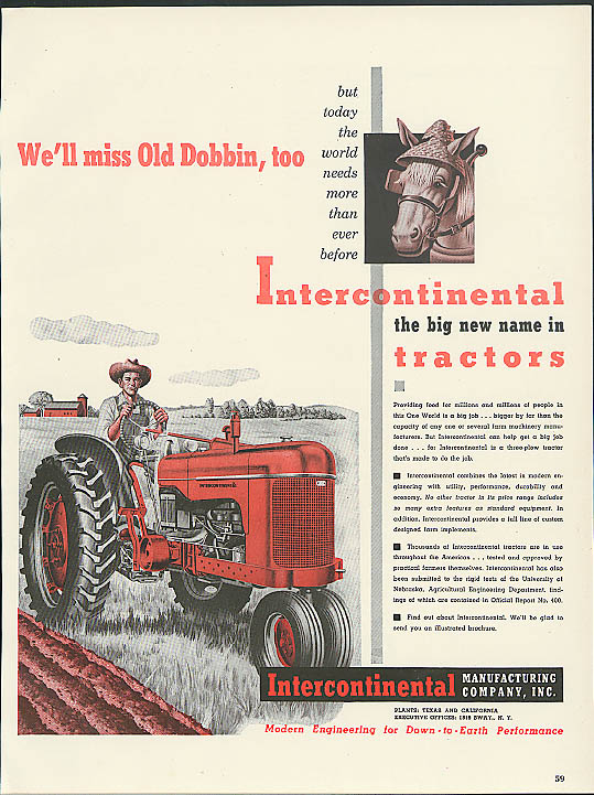 Image for We miss Old Dobbin too Intercontinental Farm Tractor ad 1949