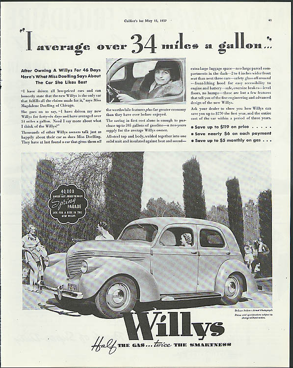 Image for I average over 34 miles a gallon Willys ad 1937