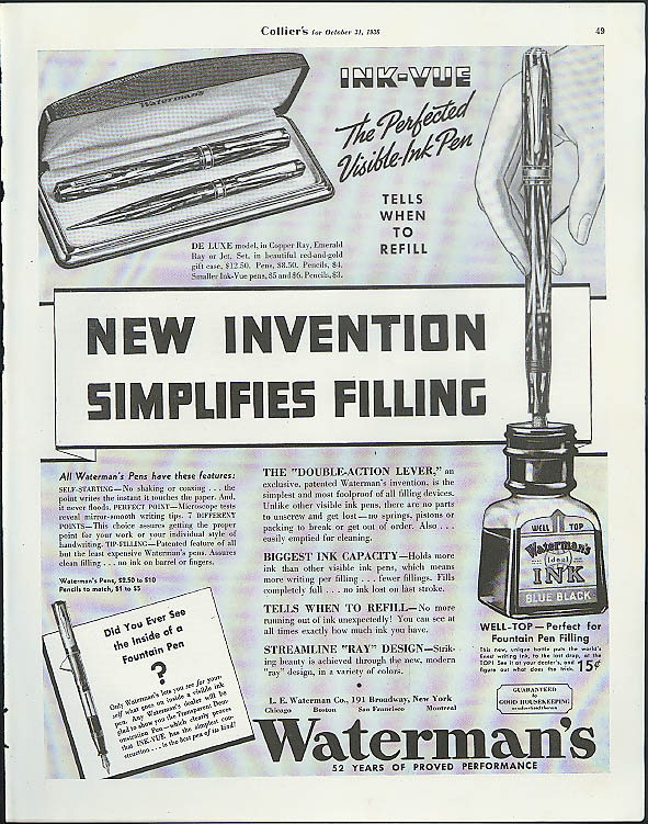 Image for New Invention Simplifies Filling Waterman's Ink-Vue Fountain Pen ad 1936