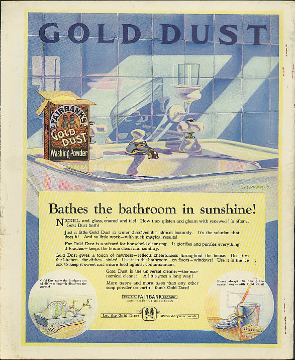 Bathes the bathroom in sunshine! Gold Dust Washing Powder ad 1920s Negro twins