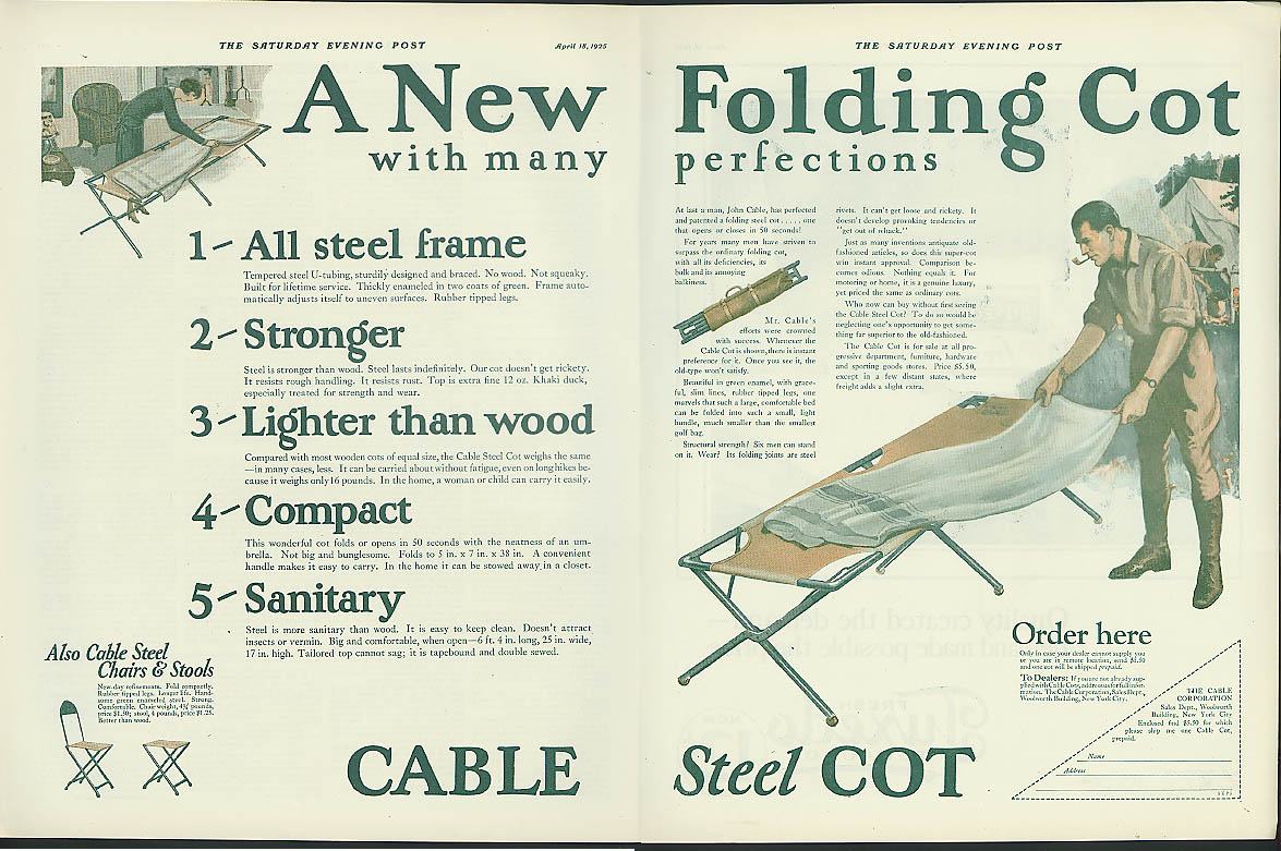 A New Folding Cot with many perfections Cable Steel Cot ad 1925
