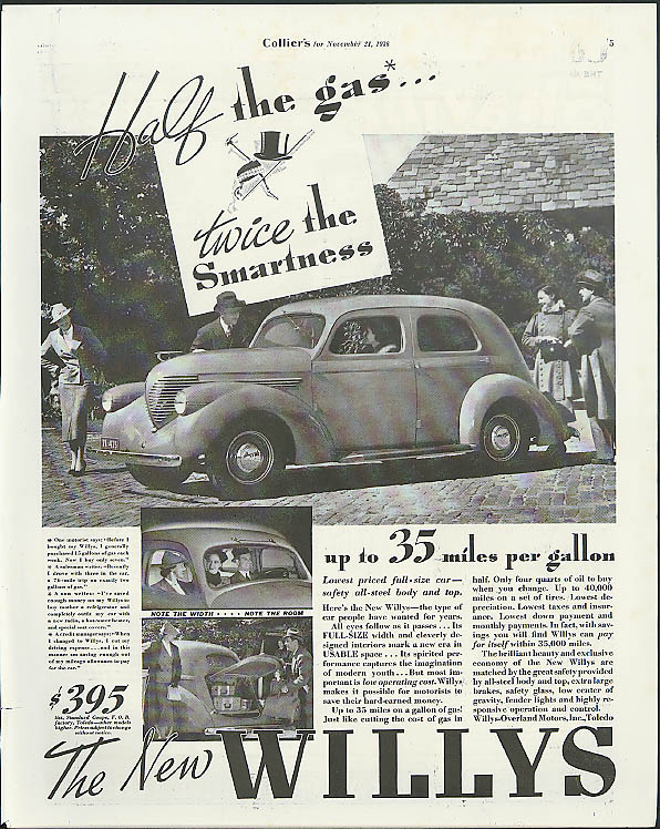 Image for Half the gas - twice the smartness 35 miles per gallon Willys ad 1937