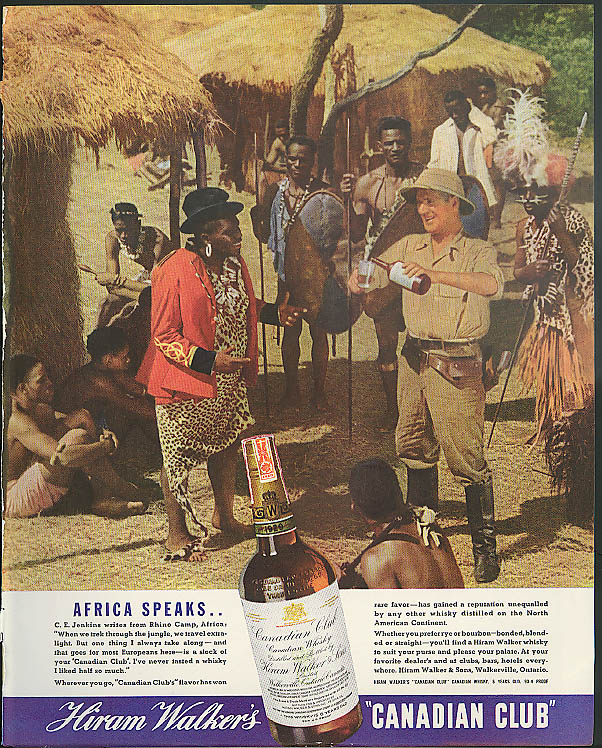 Africa Speaks from Rhino Camp Hiram Walker Canadian Club Whiskey ad 1936 black