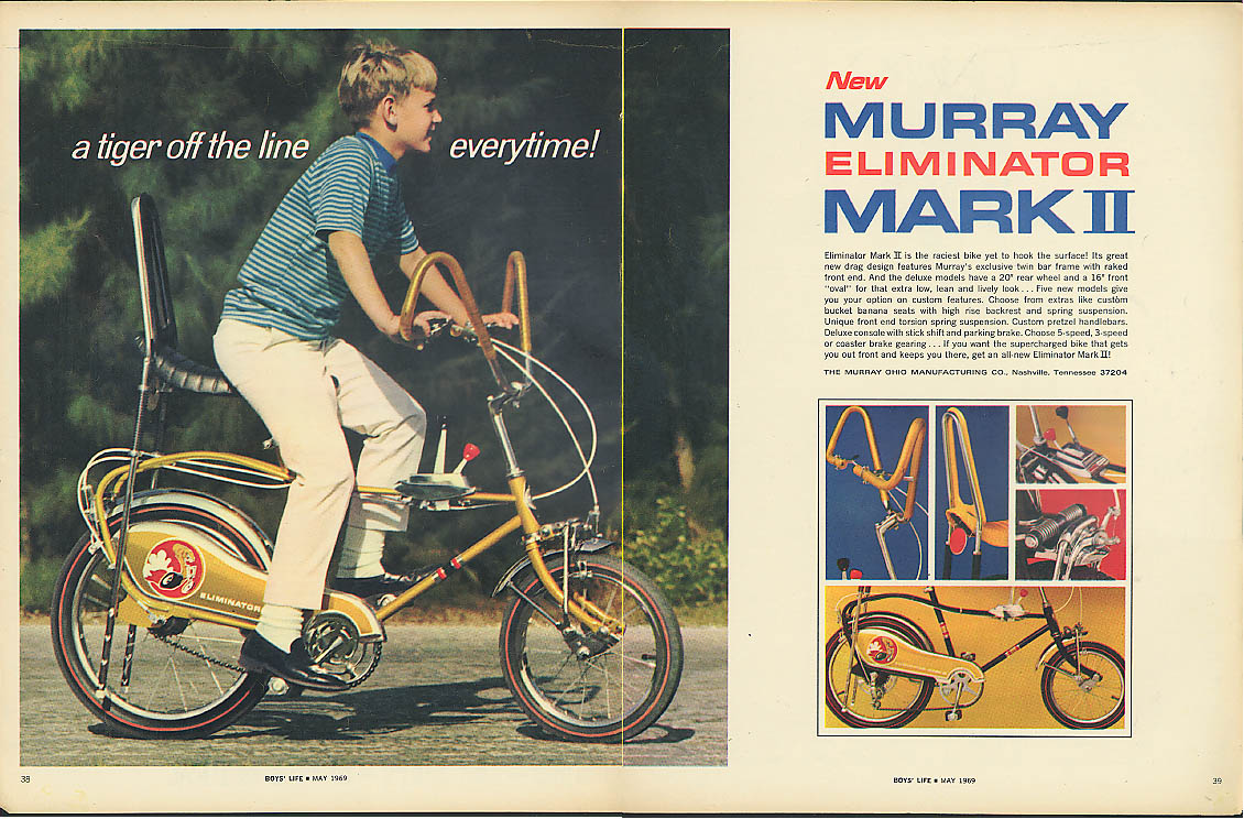 A tiger off the line every time! Murray Elimnator Mark II bicycle ad 1969