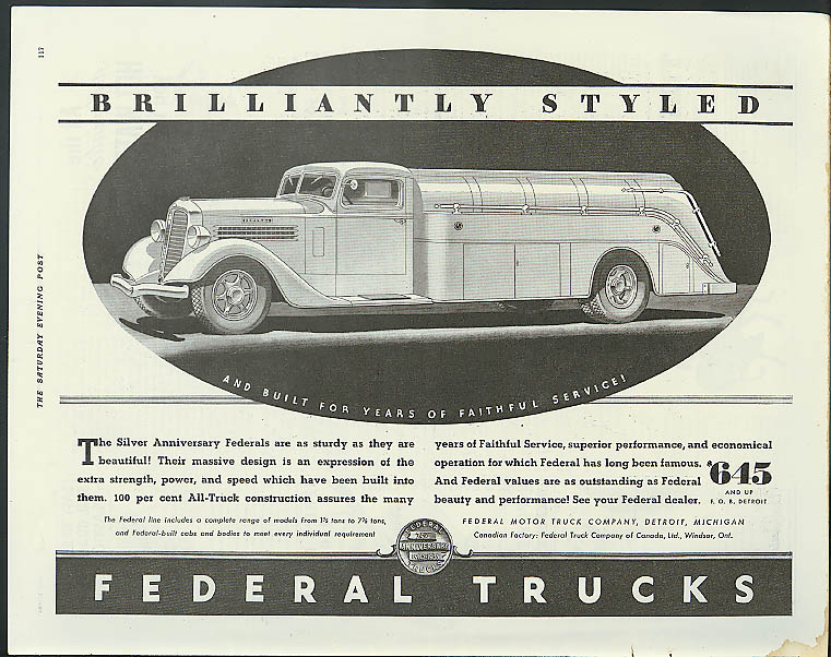 Brilliantly Styled Federal Truck ad 1935 gasoline tank truck