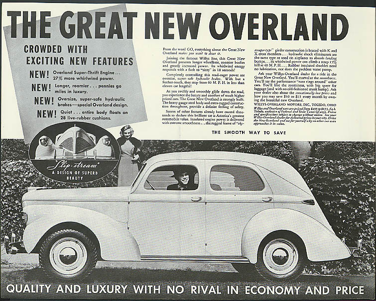 The Great New Overland crowded with exciting features ad 1939