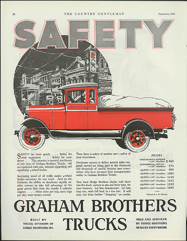 Safety for your goods, your equipment, your driver Graham Brothers Truck ad 1928